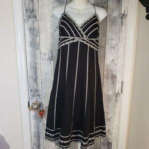 White House Black Market Dresses - Whbm black halter cotton dress size 8